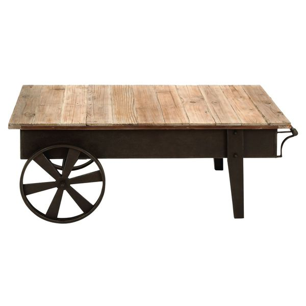 Metal wood coffee table 45 inches wide x 17 inches high for 10 inch high table