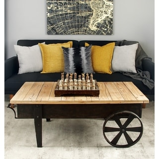 Metal Wood Coffee Table (45 Inches Wide X 17 Inches High)