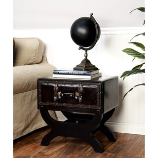 Wood Leather End Table (22 inches wide x 22 inches high)