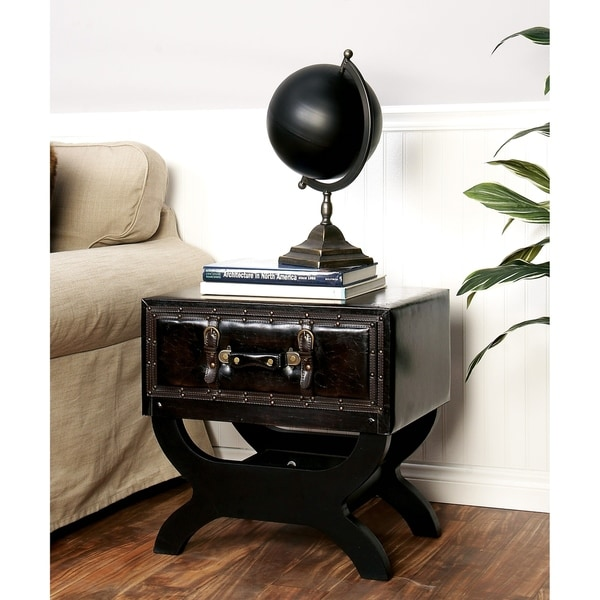 Traditional 22 X Inch Wood And Leather End Table By Studio 350