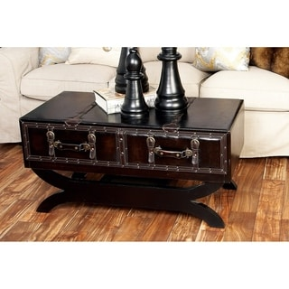 Wood Brown Leather Coffee Table (40 inches wide x 21 inches high)
