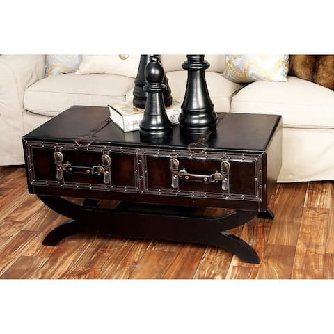 Traditional 21 Inch Leather Coffee Table with Drawers by Studio 350
