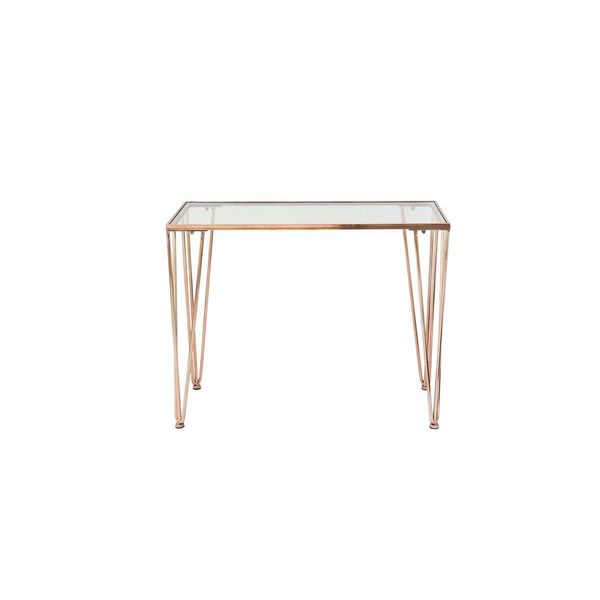 Shop Metal Glass Copper Console Table 39 Inches Wide X 31 Inches