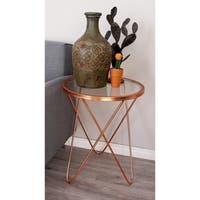 Metal Glass Copper Accent Table (18 inches wide x 23 inches high)