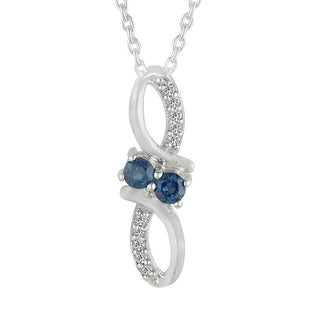 AALILLY Sterling Silver Round Blue Sapphire and White Topaz Pendant Necklace