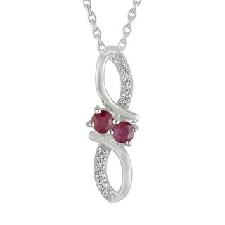AALILLY Sterling Silver Round Ruby and White Topaz Pendant Necklace