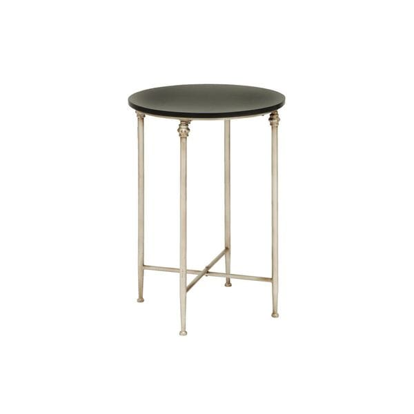 Metal Marble Brown Accent Table 26 Inches High X 18