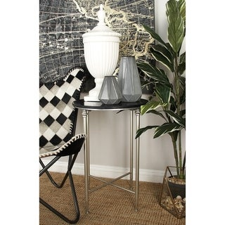 Metal Marble Brown Accent Table (26 inches high x 18 inches wide)
