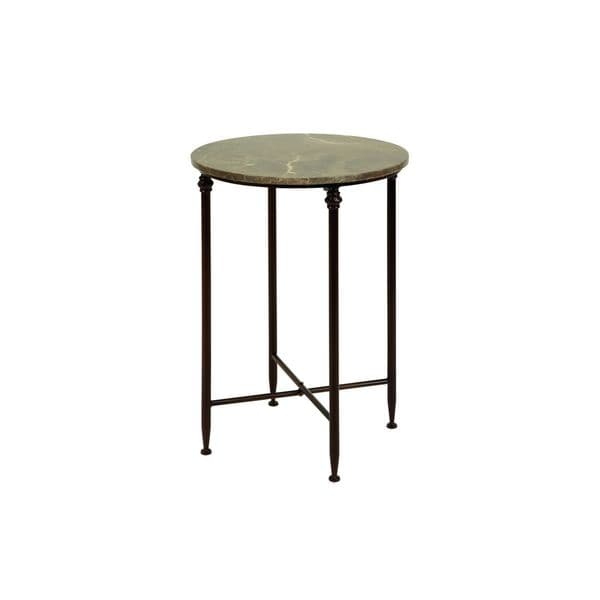 Metal marble accent table 26 inches high x 18 inches wide for Wide side table