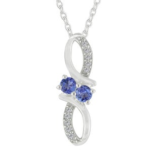 AALILLY Sterling Silver Round Tanzanite and White Topaz Pendant Necklace