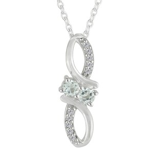 AALILLY Sterling Silver Round White Topaz Pendant Necklace