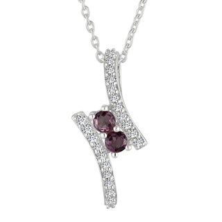 AALILLY Sterling Silver Round Rhodolite and White Topaz Fashion Pendant Necklace
