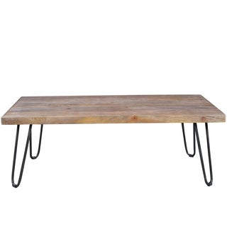 Wanderloot Portland Grey Wash Mango Cocktail Table with Hairpin Legs