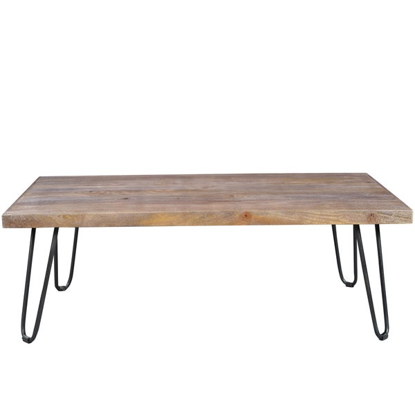 Superbe Handmade Wanderloot Portland Grey Wash Mango Cocktail Table With Hairpin  Legs (India)