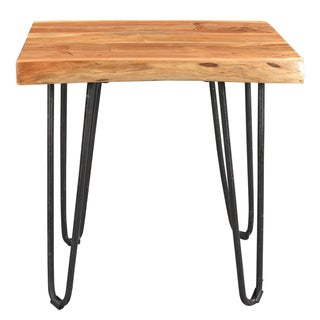 Porter Mojave Sustainable Live Edge Acacia End Table with Hairpin Legs