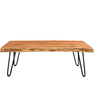 Wanderloot Mojave Sustainable Live Edge Acacia Coffee Table with Hairpin Legs