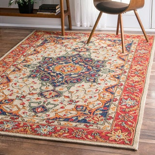 nuLOOM Handmade Country Floral Multi Rug (5' x 8')
