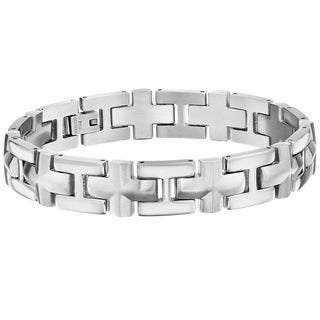 Stainless Steel Cross Design Link Bracelet