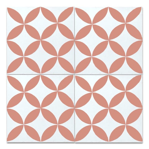 Circle White and Orange Handmade Moroccan 8 x 8 inch Cement and Granite Floor or Wall Tile (Case of 12)