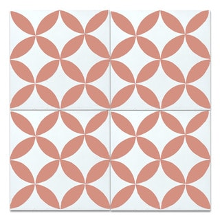 White Orange Handmade Cement and Granite Moroccan Wall/ Floor Tiles 8 Inches x 8 Inches (Case of 12)