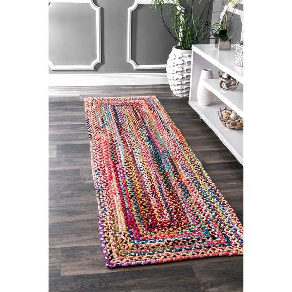nuLOOM Casual Handmade Braided Cotton Multi Rug (2'6 x 8')