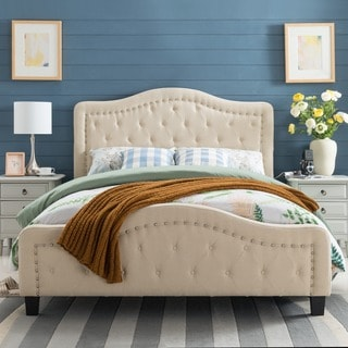 Christopher Knight Home Mathilde Studded Fabric Queen Bed Set