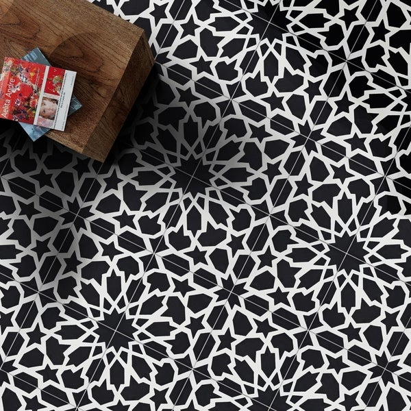 Bahja in Black and White Handmade 8x8-in Moroccan Tile (Pack 12)