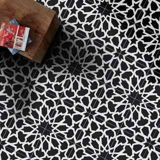 Handmade Bahja in Black and White Tile, Pack of 12 (Morocco)