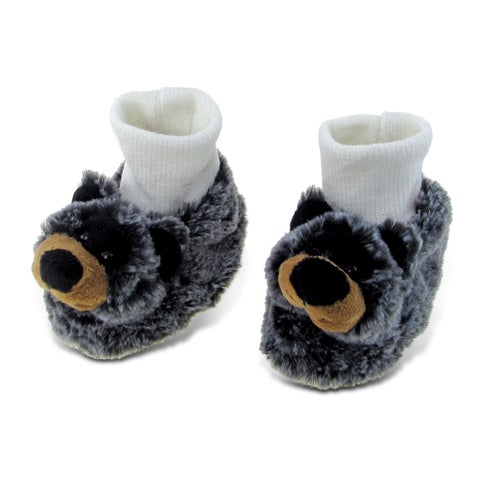Puzzled Super Soft Plush Black Bear Baby Shoes