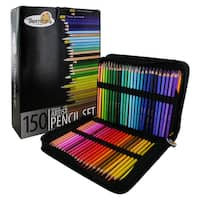 Thornton's Art Supply 150 Piece Multicolored Pencil Artist Drawing Set with Zippered Case