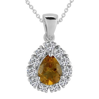 AALILLY Sterling Silver Pear Citrine and White Topaz Pendant Necklace