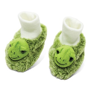 Puzzled Super Soft White/Green Plush Sea Turtle Baby Shoes