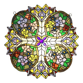 Zorya 23-inch Tiffany-style Multicolored Stained Glass Window Panel