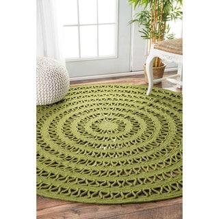 nuLOOM Indoor/ Outdoor Contemporary Round Green Rug (8' Round)