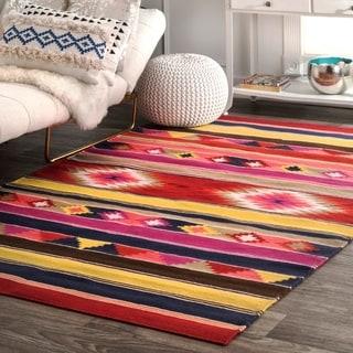 nuLOOM Handmade Flatweave Wool Tribal Multi Rug (7'6 x 9'6)