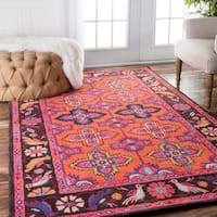 nuLOOM Handmade Overdyed Traditional Coral Rug - 7'6 x 9'6