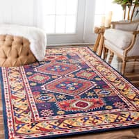 "nuLOOM Handmade Overdyed Tribal Medallion Navy Rug (7'6 x 9'6) - 7'6"" x 9'6"""