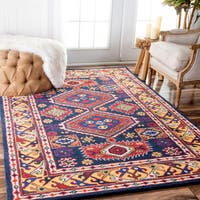 nuLOOM Handmade Overdyed Tribal Medallion Navy Rug - 7'6 x 9'6