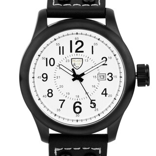 Picard & Cie Men's Stellihorn military inspired watch, 12 hour/24 hour scales, date, genuine leather strap