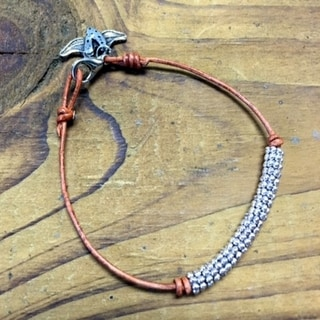 Brave Heart Leather in Silver Finish Bracelet