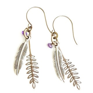 Ferns and Feathers Brass Gemstone Dangle Earrings