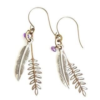 Ferns and Feathers Brass Gemstone Dangle Earrings