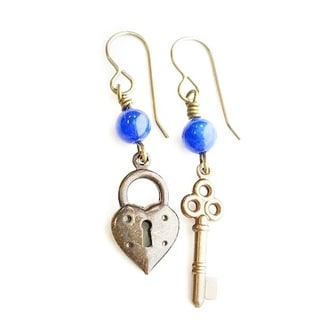 Key to My Heart Brass Gemstone Earrings