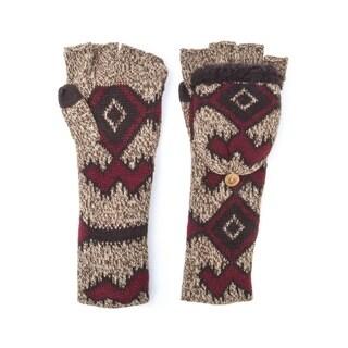 Muk Luks Women's Acrylic/ Polyester Faux Fur Tribal Long Flip Mittens