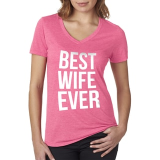 Crazy Dog Women's 'Best Wife Ever' Pink V-neck T-shirt