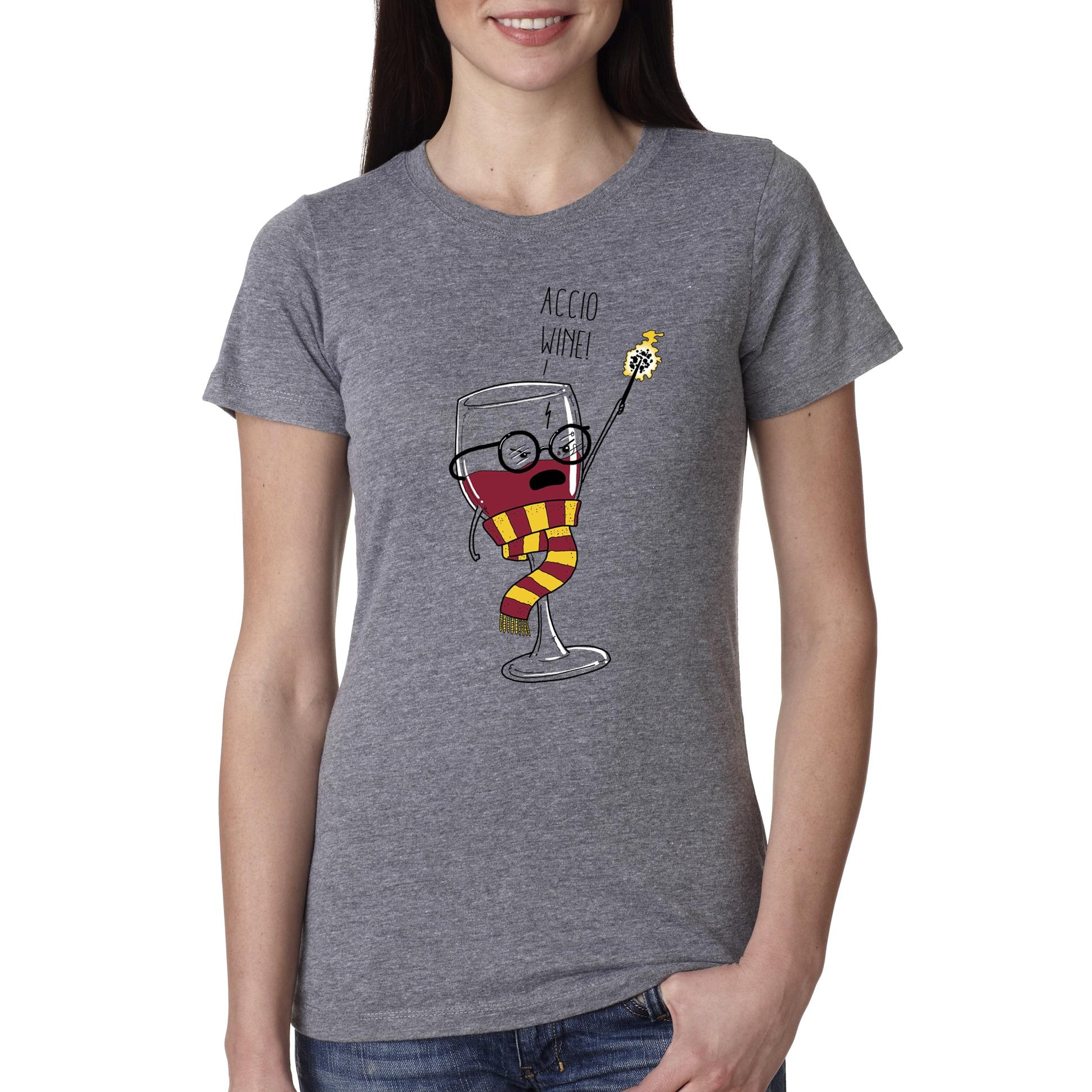 Crazy Dog Women's Funny 'Accio Wine' Grey Cotton T-shirt ...