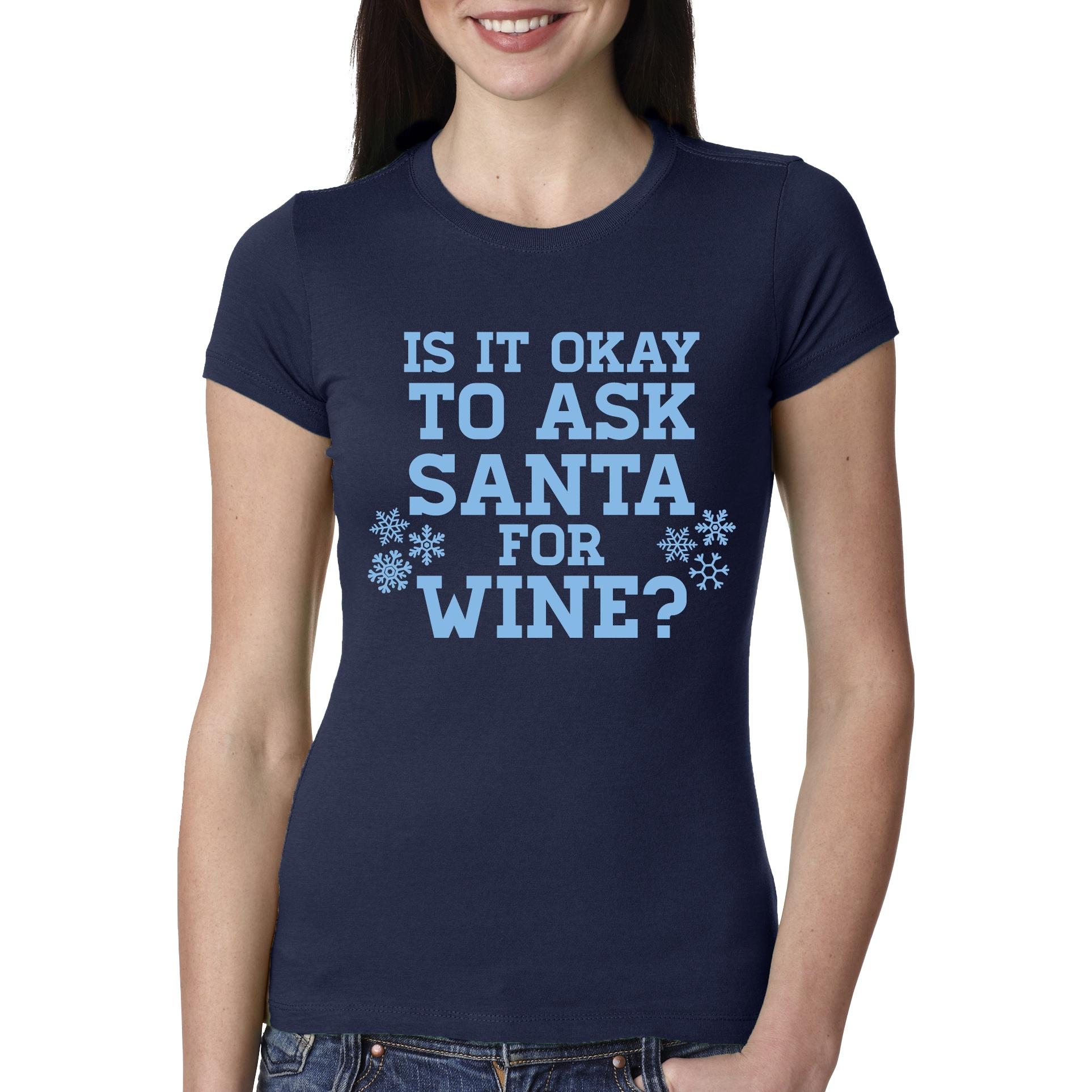 Crazy Dog Women's 'Ask Santa For Wine' Navy (Blue) Cotton...