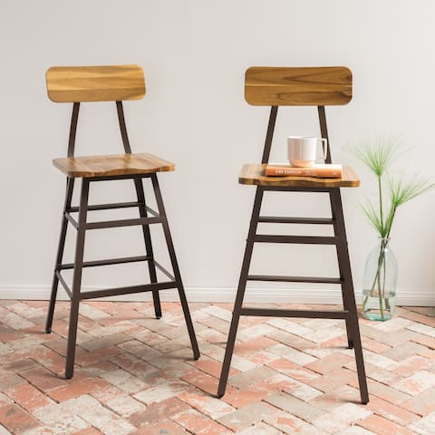Rugar 28-inch Acacia Wood Bar Stool (Set of 2) by Christopher Knight Home