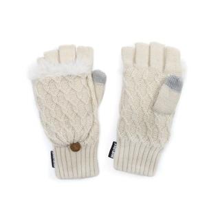 Muk Luks Women's Acrylic/ Polyester Faux Fur Textured Flip Mittens