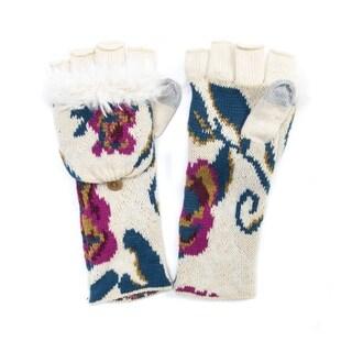 Muk Luks Women's Acrylic/ Polyester Faux Fur Floral Long Flip Mittens